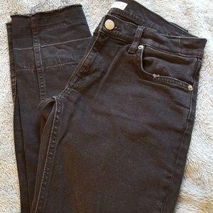 Zara Raw Hem Black Jeans